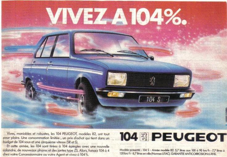 Peugeot 104 - ancienne pub magazine