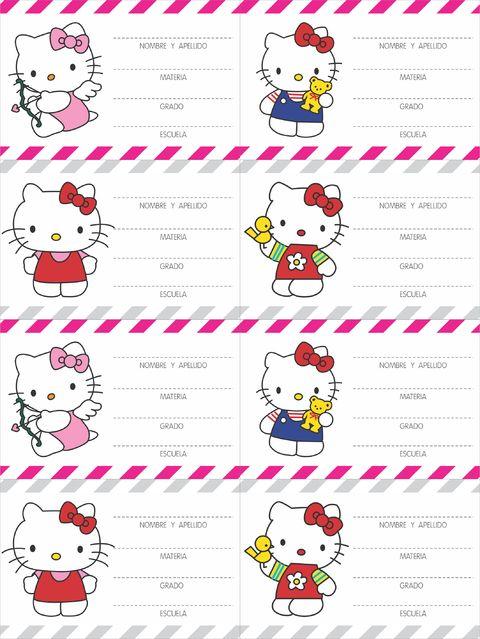 Etiquetas escolares Hello Kitty para imprimir gratis - Imagui