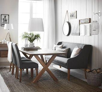 Westwood matbord, Sandö stolar och Kilda kökssoffa från Mio.