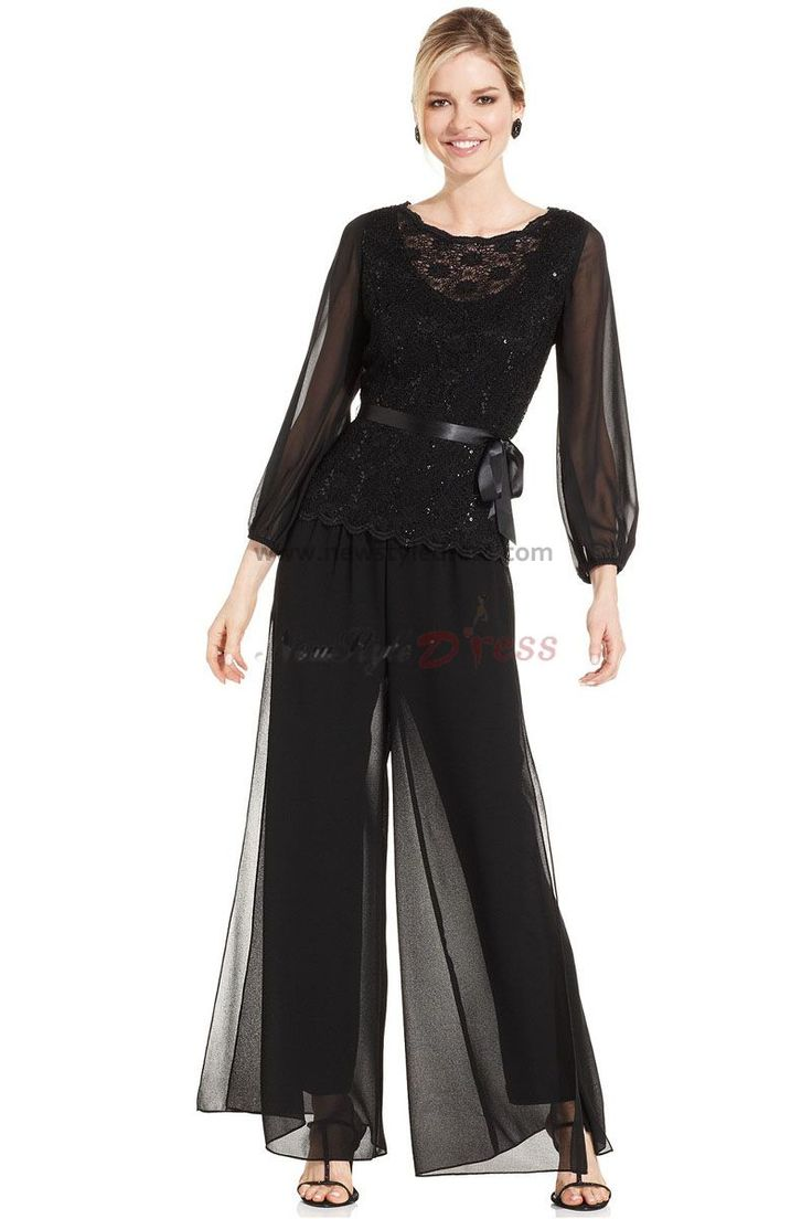 mother of the bride pantsuits   ... sleeve Chiffon mother of the bride pant suits with lace nmo-013