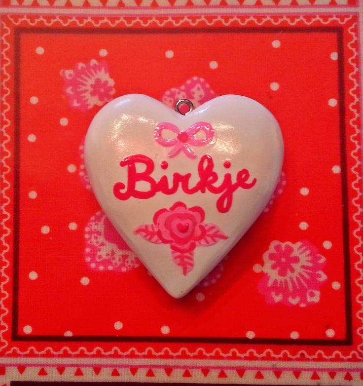 ~Handbeschilderd houten hart-als hanger voor aan geluks en troostketting.Gemaakt door mijzelf~