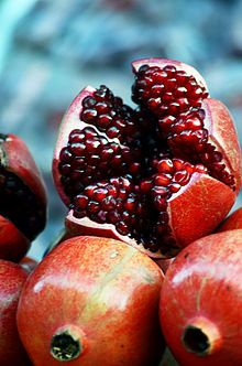 """pomegranates - """"a land of wheat and barley, of vines and fig trees and pomegranates, a land of olive oil and honey"""" Deut. 8:8"""