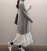 ASYMSAY Новые Поступления Осень Зима Мода Корея Стиль Водолазка Толстовка Сплит Совместное Платье женская Случайные Свободные Платья
