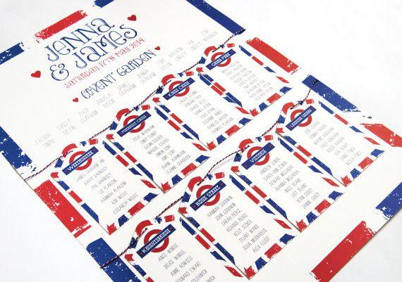 Plan de table - Métro londonnien