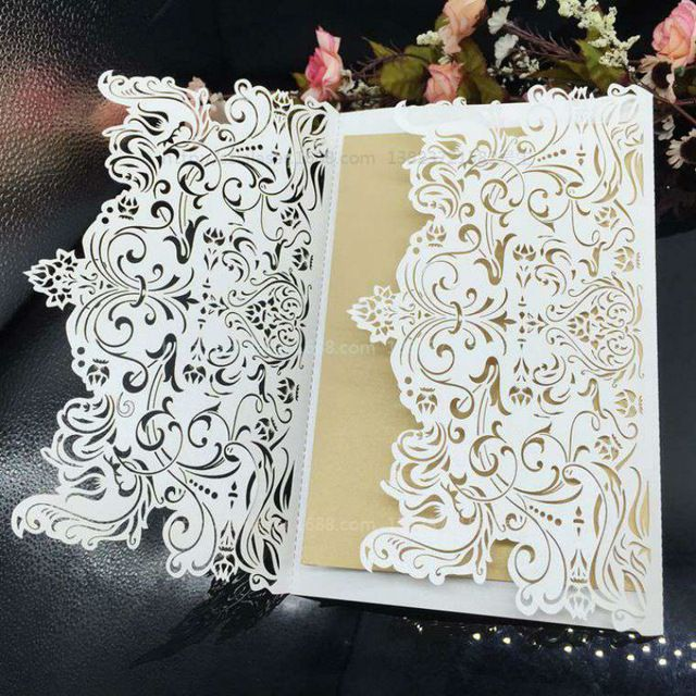 Wedding Supplies Laser Cut Wedding/Business/Party/Birthday Invitations with Inside pages 30Pcs/Lot Free Shipping 6Z-CD032