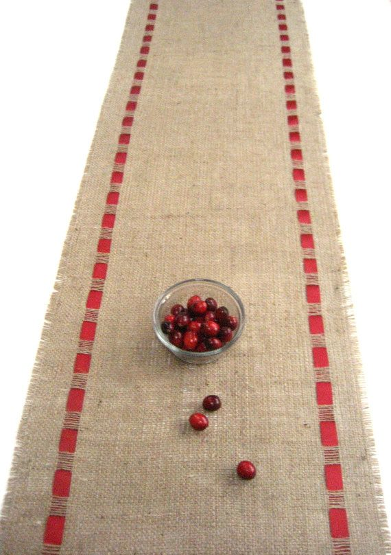 Burlap Table Runner with Double Face Satin Red Ribbon