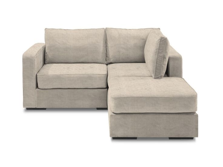 Small Chaise Sectional with Tan Tweed Covers - this is exactly what I want!!! it's the functionality of a sofa with the width of a loveseat!