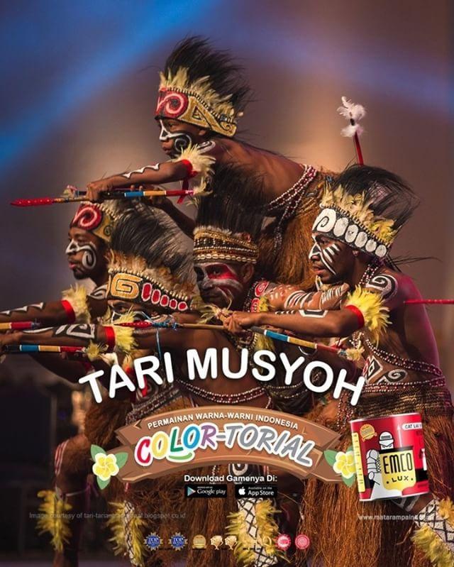 Tari Musyoh  Kawan EMCO, tari Musyoh adalah bagian dari wajah spiritual masyarakat Papua. Ia dipersembahkan untuk menyambut kedatangan tamu dari tanah asing dan juga, sebaliknya, ketika mengantar kepulangan kerabat yang mereka cintai. Tari Musyoh sendiri adalah tari gembira: diiringi tepukan tifa, para penari yang menggunakan pakaian suku berjingkrak dan mengayunkan tombak atau tameng di tangannya. Lambaian rumbai dengan motif tribal ikut bergerak mengikuti gerakan lincah nan dinamis.  Masih…