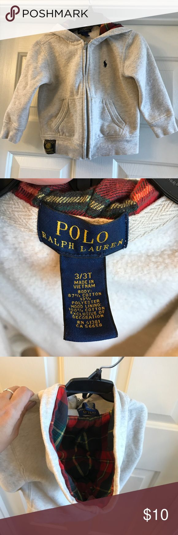 3t Polo Ralph Lauren hoodie zip up EUC. Only worn a couple of times. Has plaid in hood. Bundle and save! Polo by Ralph Lauren Shirts & Tops Sweatshirts & Hoodies