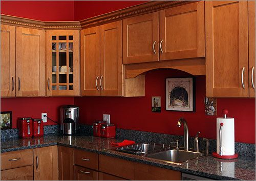 I like this matte red color - it seems more subtle than alot of other red kitchens I've seen