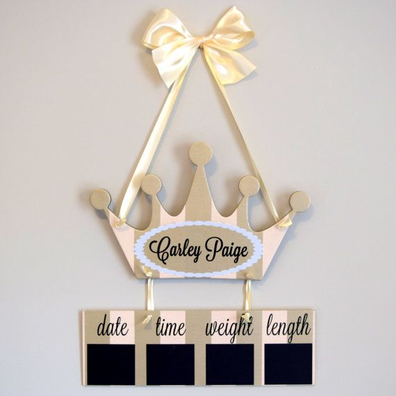 Princess Hospital Door Hanger  Welcome Baby Girl Blush & Gold