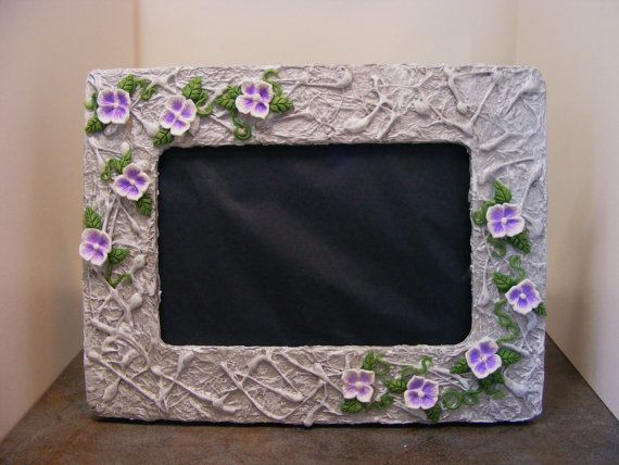 Grey  Picture Frame with Purple and White Flowers by Gothbunny