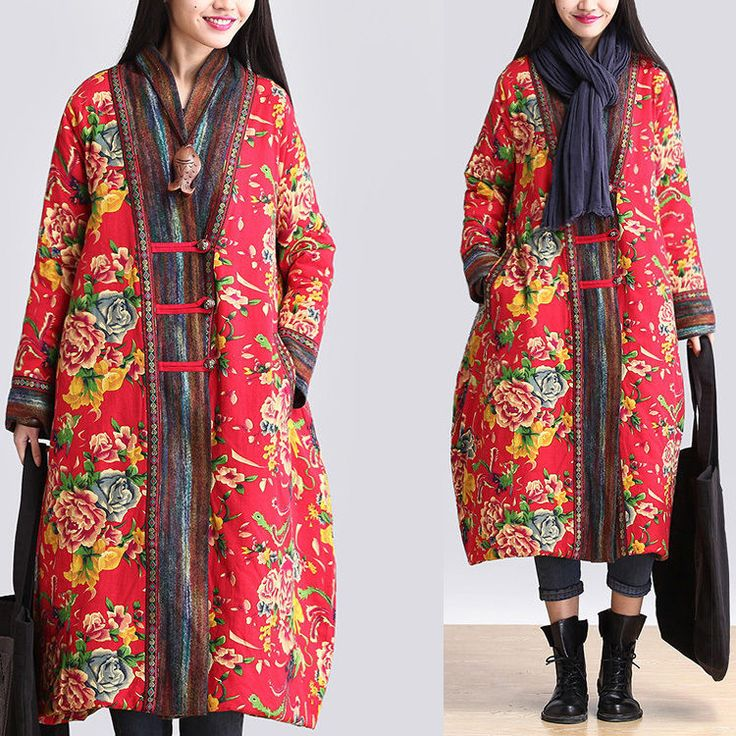 A67 Chinese Folk Manual Button Women's Long Floral Quilted Coat Jacket Outwear | eBay