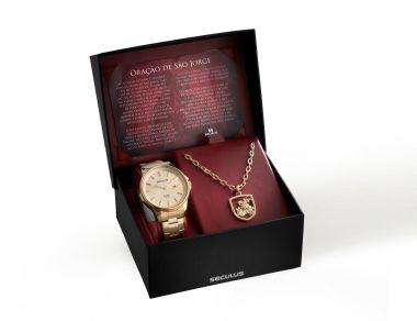 28802GPSKDA1K1 Relógio Masculino Dourado Seculus Homenagem a São Jorge   Guest Club