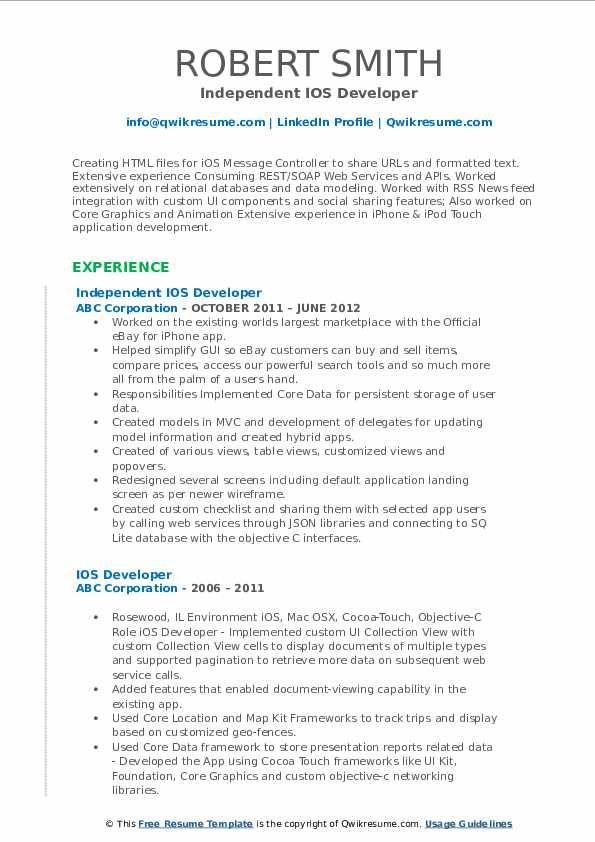 Ios Developer Resume Samples Professional Resume Templates In 2020 Medical Sales Resume Sales Resume Examples Resume Examples