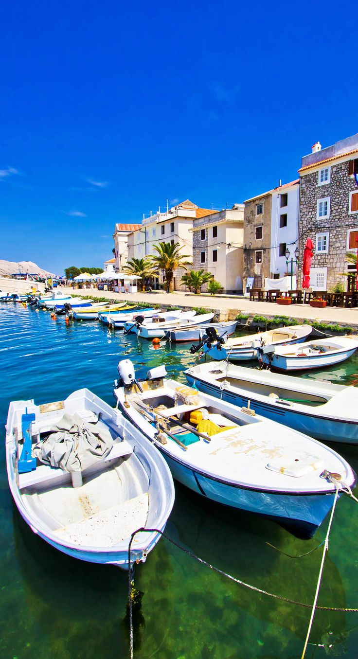 Relaxing Summer view of Pag town, Dalmatia, Croatia