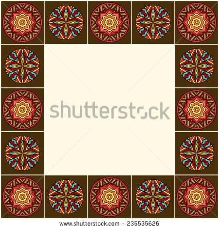 Decorative border with African ornaments. Ornate ethnic frame. Colorful medallions in border composition. Abstract round tribal patterns. Copy space. Vector is EPS8.