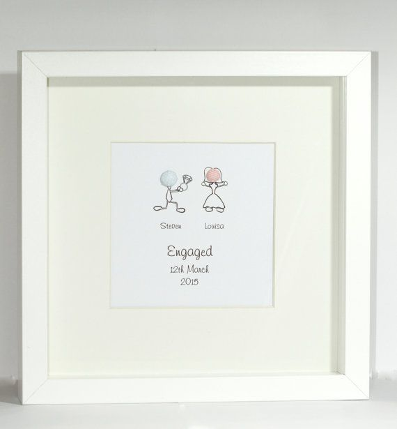 personalised engagement framed present capture the moment stick person personalised engaged frame