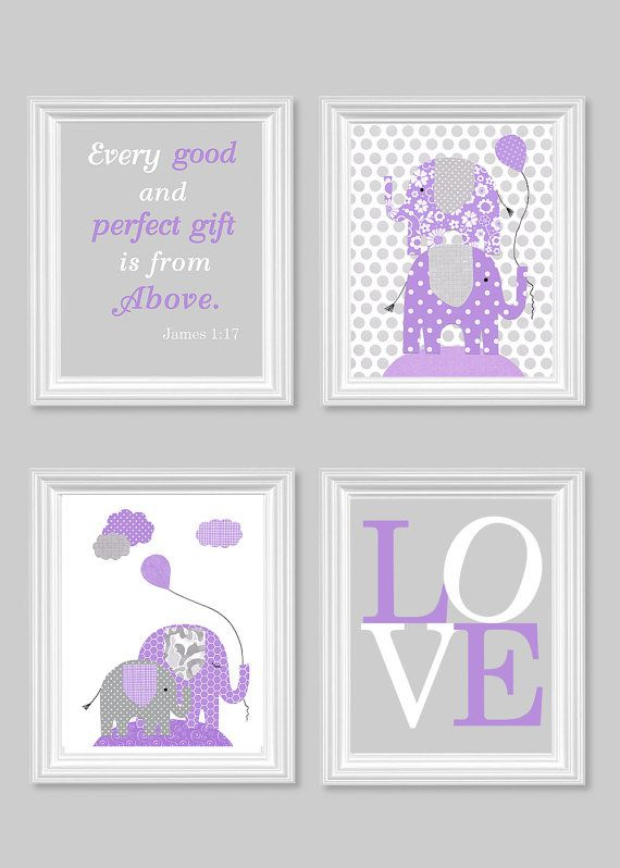 elephant nursery art grey and purple baby girl room decor bible verse print love print. Black Bedroom Furniture Sets. Home Design Ideas
