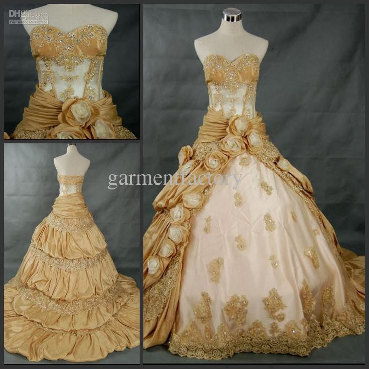 Wholesale Gorgeous Sweetheart Cut Bride Ball Gowns Chapel Gold Taffeta Wedding Dresses with hand-made Roses, Free shipping, $190.4-199.36/Piece | DHgate