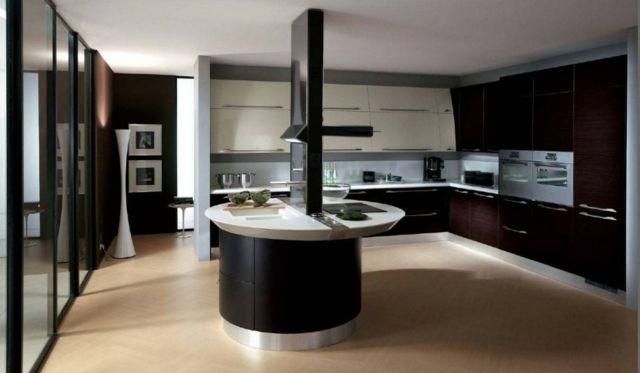 Holzboden runde Kücheninsel Retro Küchenschränke moderne Küche