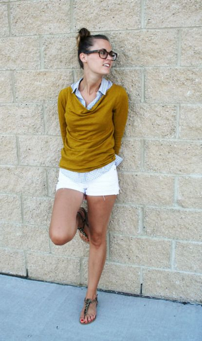 awesomeness: Sweater, Fashion, White Shorts, Summer Outfit, Style, Color, Collared Shirt, Wear, Outfit Whiteshorts