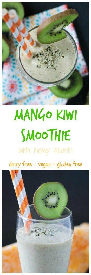 Mango Kiwi Smoothie with Hemp Hearts - tropical | vegan | dairy free | gluten free | healthy | drink | beverage