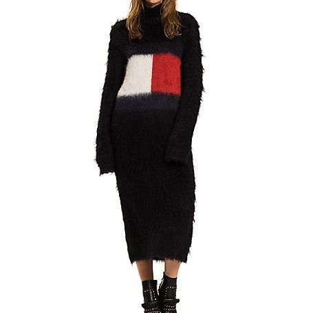 Tommy Hilfiger women's dress. As seen on the runway, our celebration of Hilfiger heritage continues. Spun from ultra-soft mohair, this luxe sweater dress boasts our iconic flag across the chest. A limited-edition, Hilfiger Collection piece.<br>• Oversized it, knee length.<br>• 70% mohair, 15% wool, 15% acrylic. <br>• Dry clean.<br>• Imported.