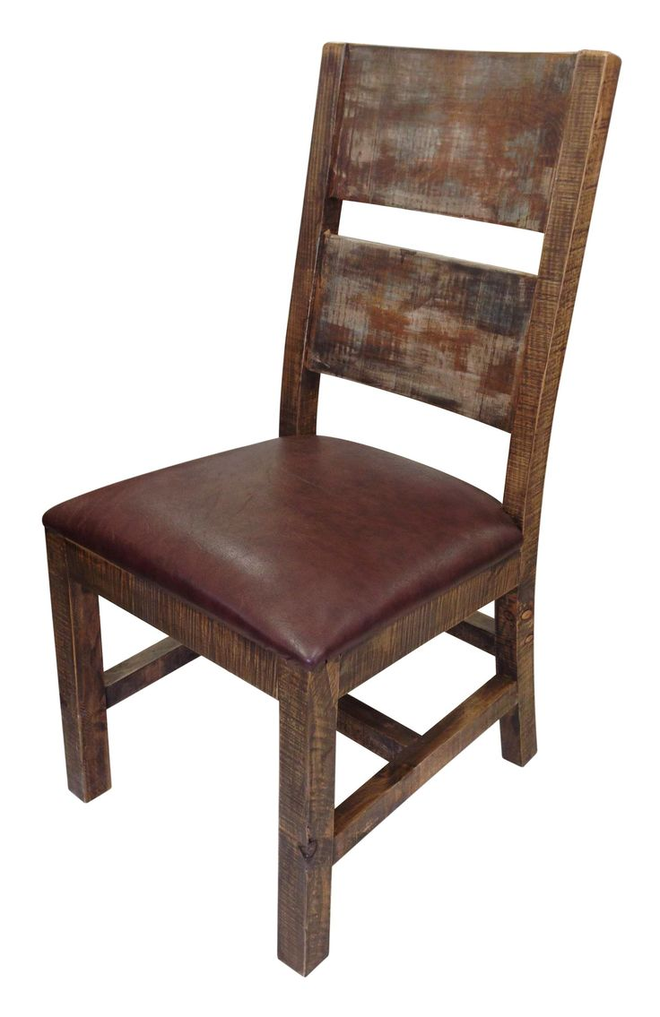 900 Antique Solid Wood Chair With Bonded Leather Seat By International Furniture Direct ChairsDining Room