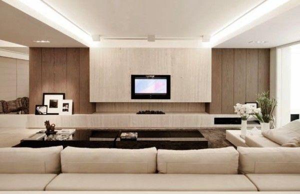 assim eu gosto decoracao atual sala painel madeira marmore travertino