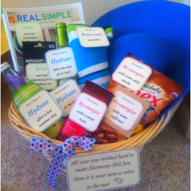 End of year teacher basket of relaxing goodies!