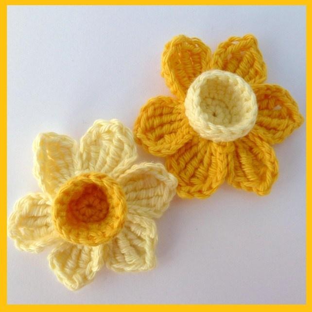 2 Crochet daffodils, St David's Day appliques £2.50
