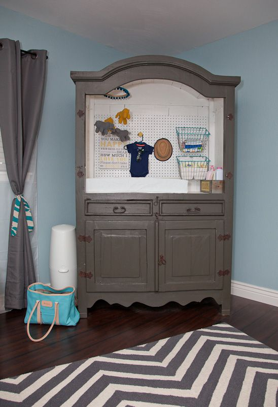 This changing station can grow with the baby. When the baby is a toddler, you could add a curtain rod for hanging clothes or shelves for storage!