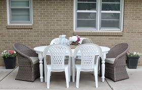 12th and White: Thrifted Pottery Barn Table {How to Turn Indoor Furniture into Outdoor Furniture}