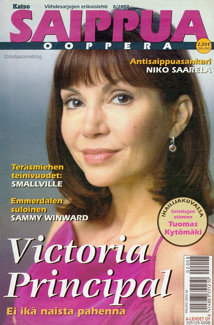 One of the newest covers: Victoria Principal on Saippuaooppera magazine 2002.