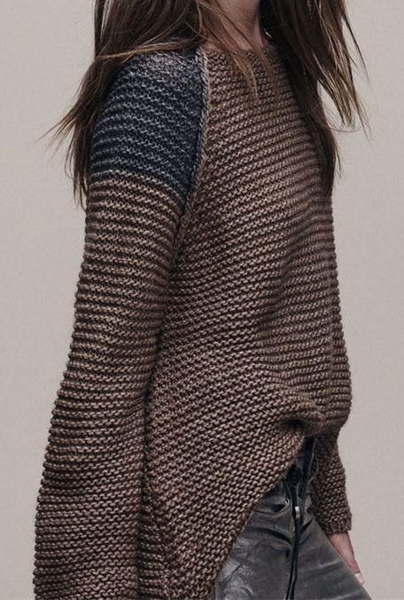 Raglon Color Block Loose Round Neck Sweater
