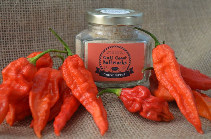 Gulf Coast Saltworks : Ghost Pepper Sea Salt.  Some like it hot and if that's you try our Ghost Pepper Sea Salt!  The Indian pepper Naga Jolokia is one of the hottest peppers on the Scoville Charts.   However, don't let that scare you away because it has an amazing flavor that will surprise you.  Use it to add a kick to Mexican or Indian dishes or to spice up your Bloody Mary.  http://GulfCoastSaltworks.com/products