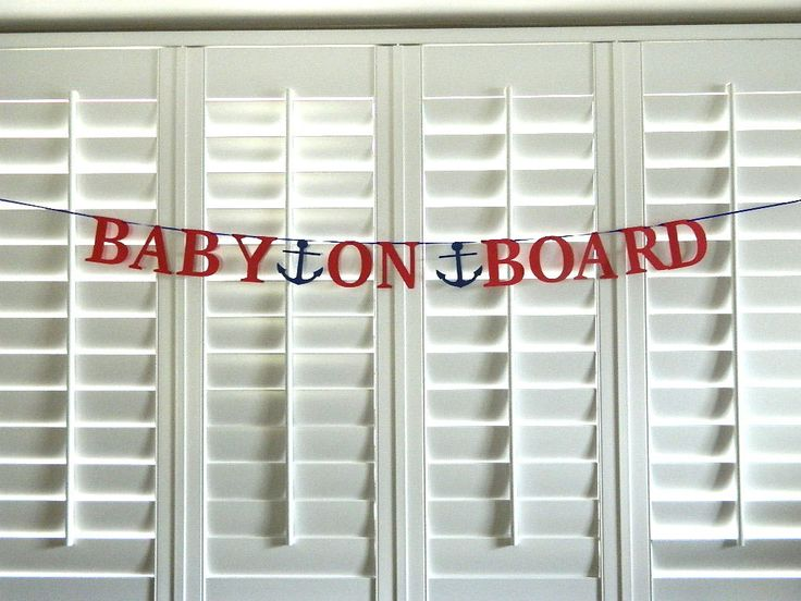 Baby on Board Banner Nautical Baby Shower Banner Paper Bunting Garland with Anchor Handmade, Beach Theme, Photo Prop - pinned by pin4etsy.com