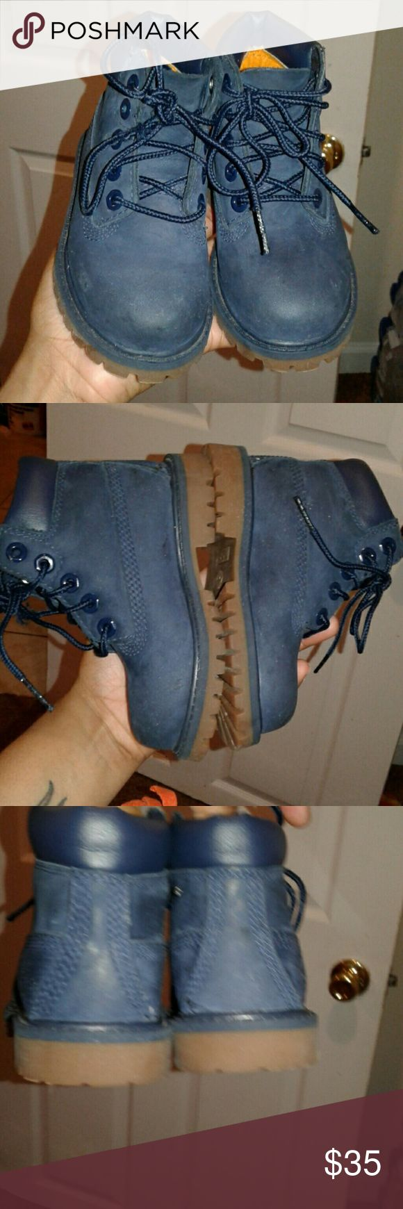 Timberland Boots Size 7c Navy Excellent Condition Size 7c Navy Blue Timberland Boots for Boy/Girl Timberland Shoes Boots