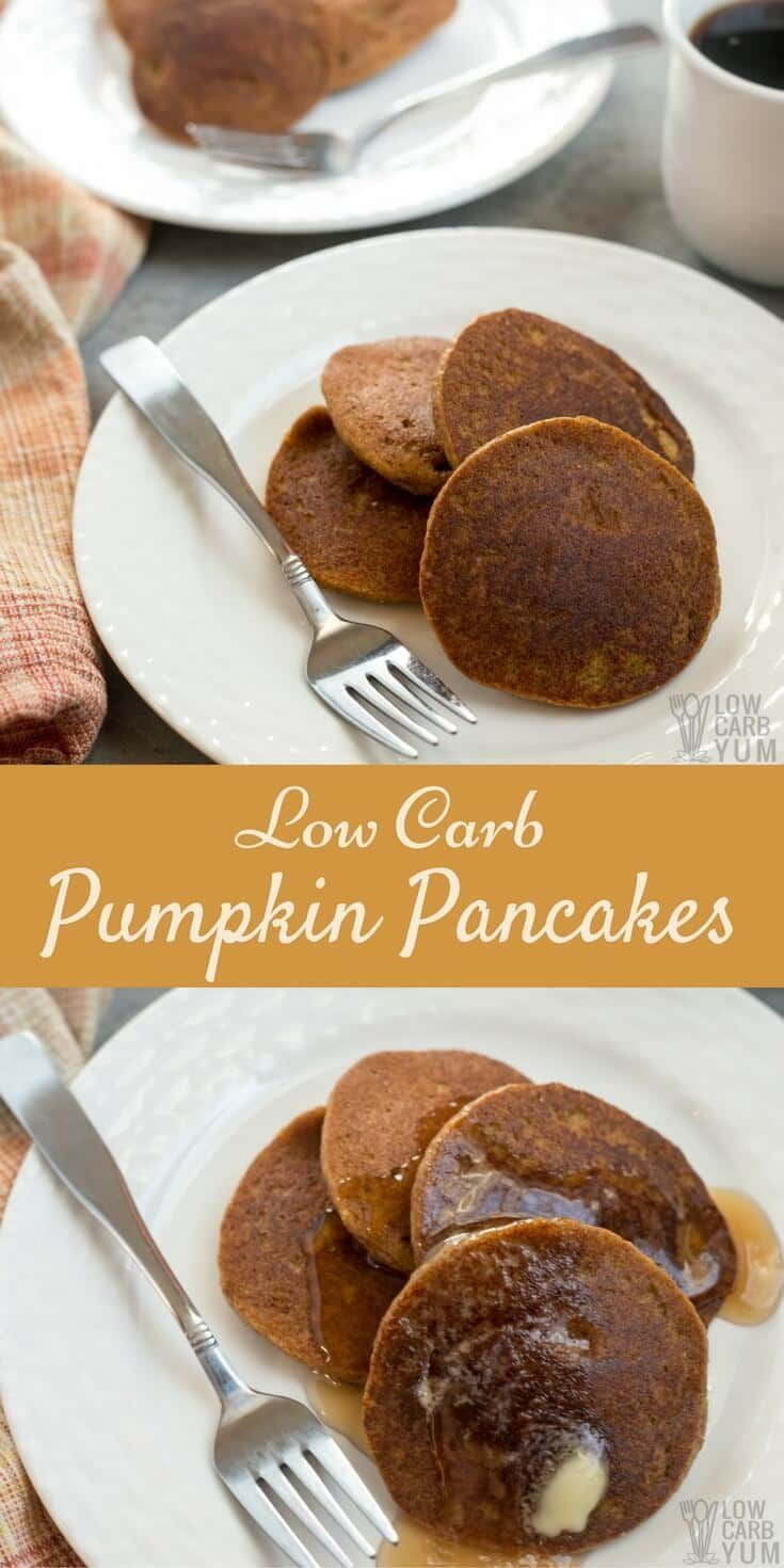 Need a recipe to use up leftover canned pumpkin? These gluten free low carb pumpkin pancakes made with almond flour are a nice breakfast treat.   LowCarbYum.com