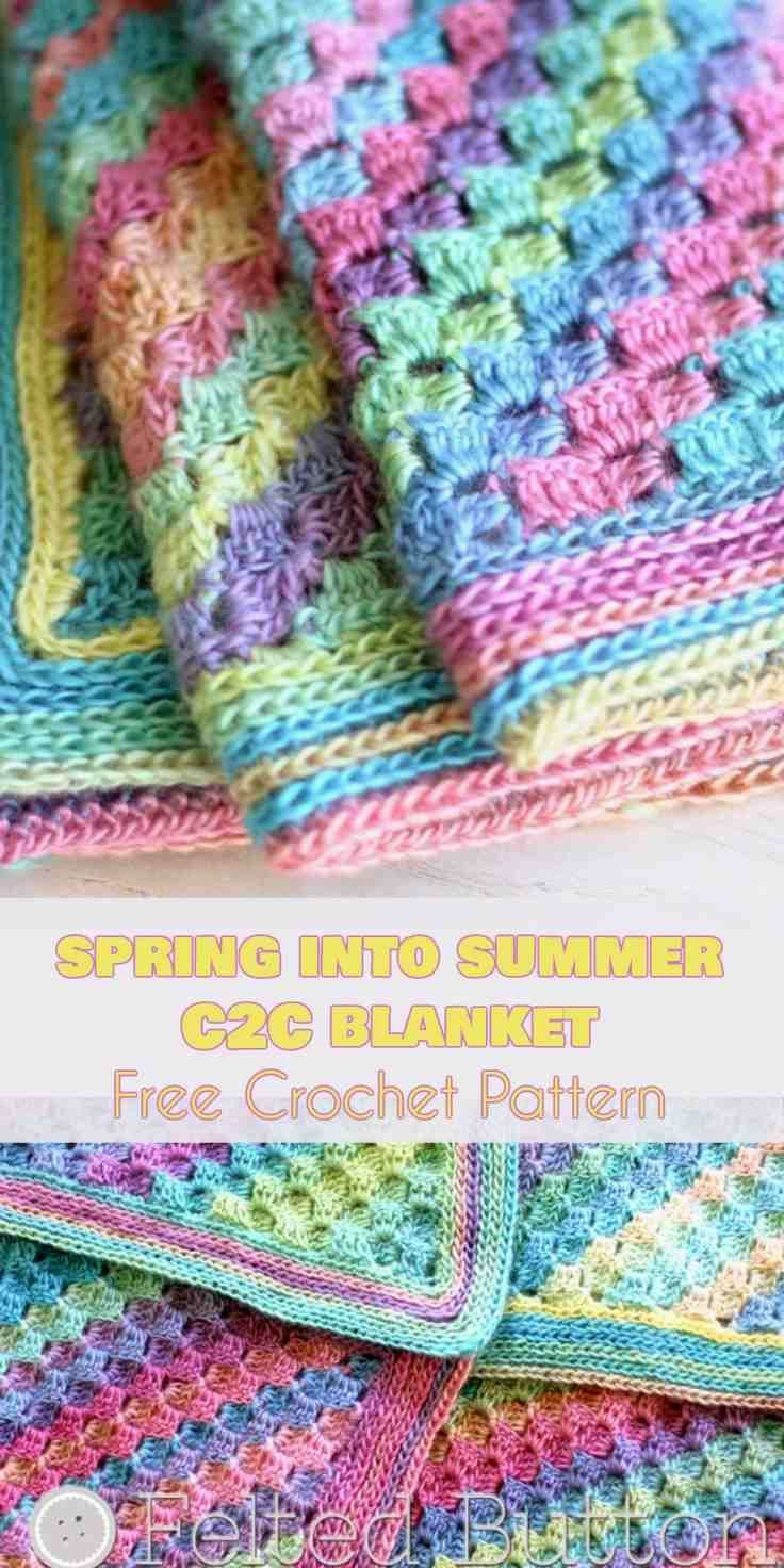Spring Into Summer C2c Baby Blanket Free Crochet Pattern