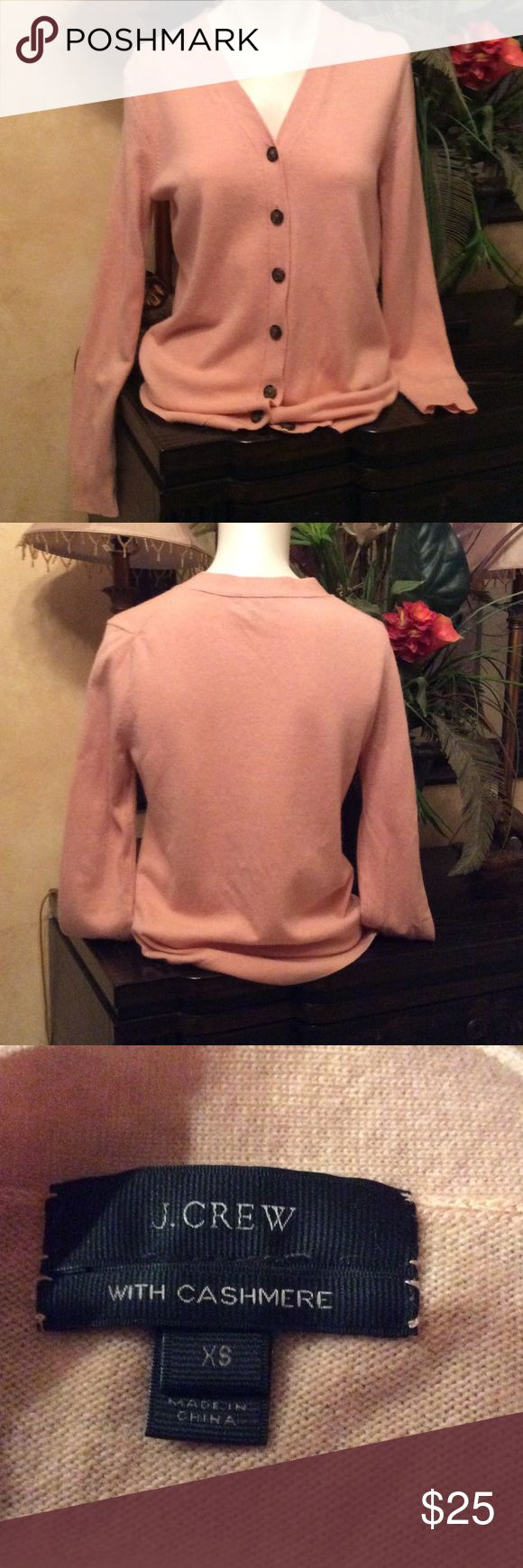 J. Crew Sweater Cardigan button down size XS J. Crew Sweater with Cashmere ladies v neck button down Size XS. 55% wool 30% cotton 12% cashmere color pink .excellent condition J. Crew Sweaters Cardigans