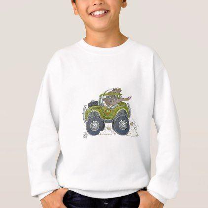 Cartoon illustration of a Elephant driving a jeep. Sweatshirt - animal gift ideas animals and pets diy customize