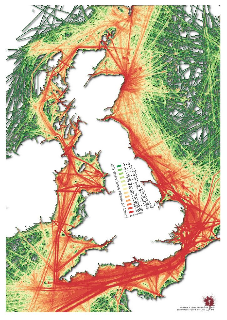 UK vessel journey density for the year 2012 created using QGIS 2.10  MMO data © Crown copyright and database right