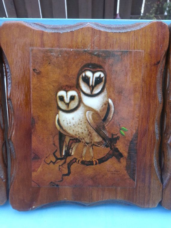 Adorabile gufo stampe su legno Vintage rustico di ShinlanderSwag
