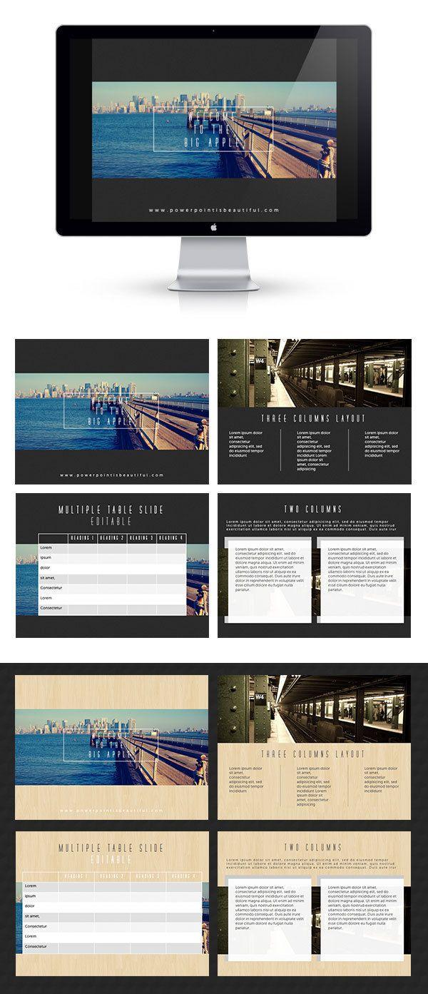 Free Powerpoint Template - Big Apple by Prakarn Nisarat, via Behance
