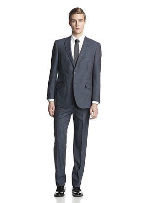 66% OFF English Laundry Men's Slim Fit Chalk Stripe Suit (Blue/White)