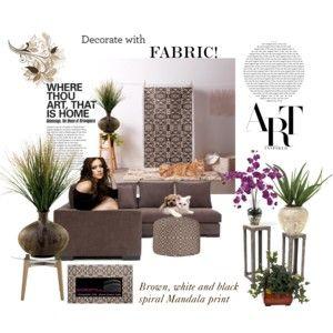"""""""Decorate with custom designed fabric"""" by khoncepts.com  """"brownwhiteandblack #homedecor"""