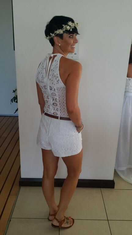 White lace Playsuit back view