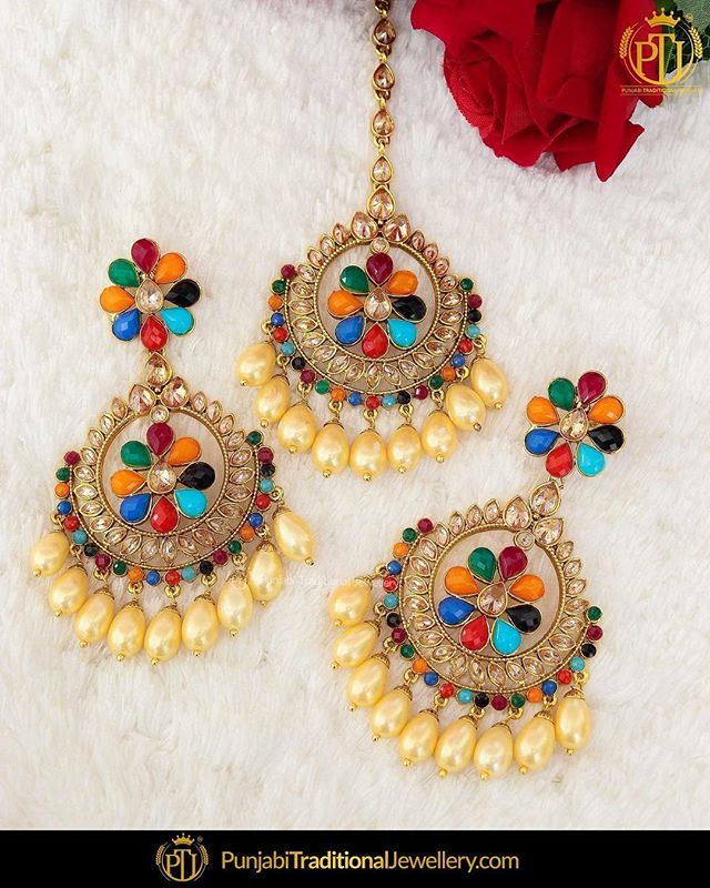 6c69d502f featured:- Satrangi Champagne Stone Earrings & Tika Set Shop our latest  collection at